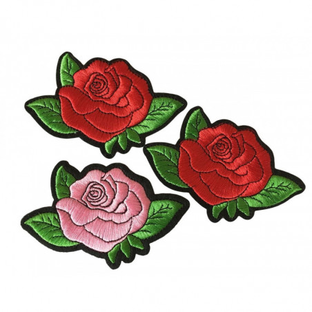 3 charming rose patches, pretty iron on design, ca. 115mm - 2x red, 1x rose