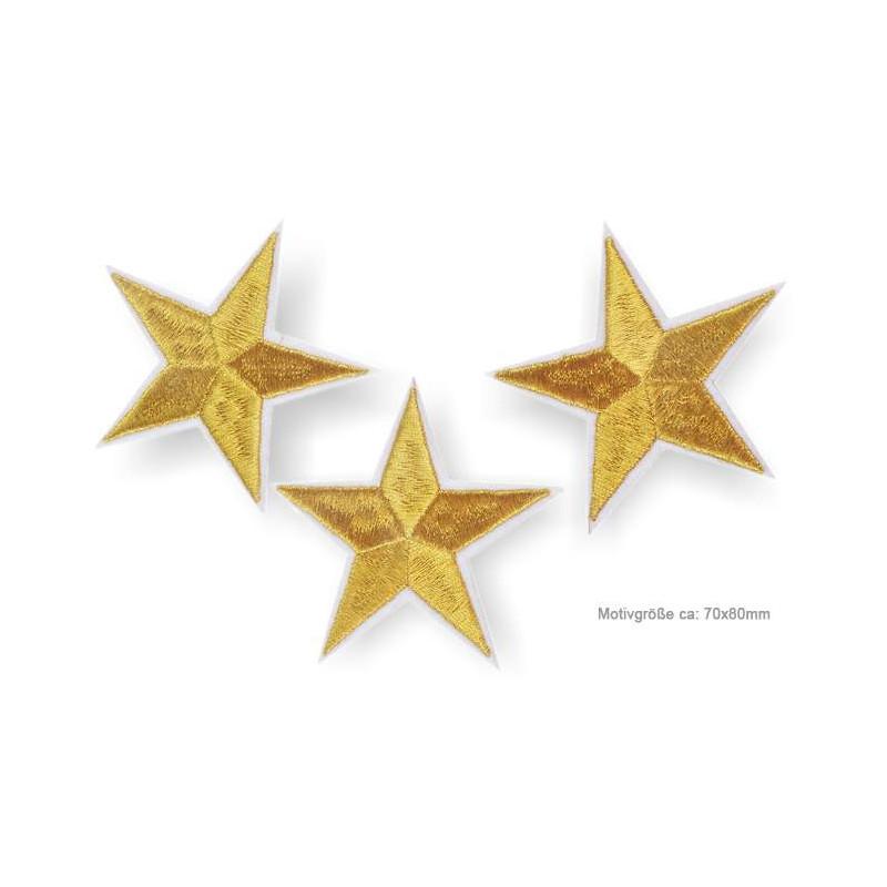 3 Stern Bügelbilder, golden je 70x80mm