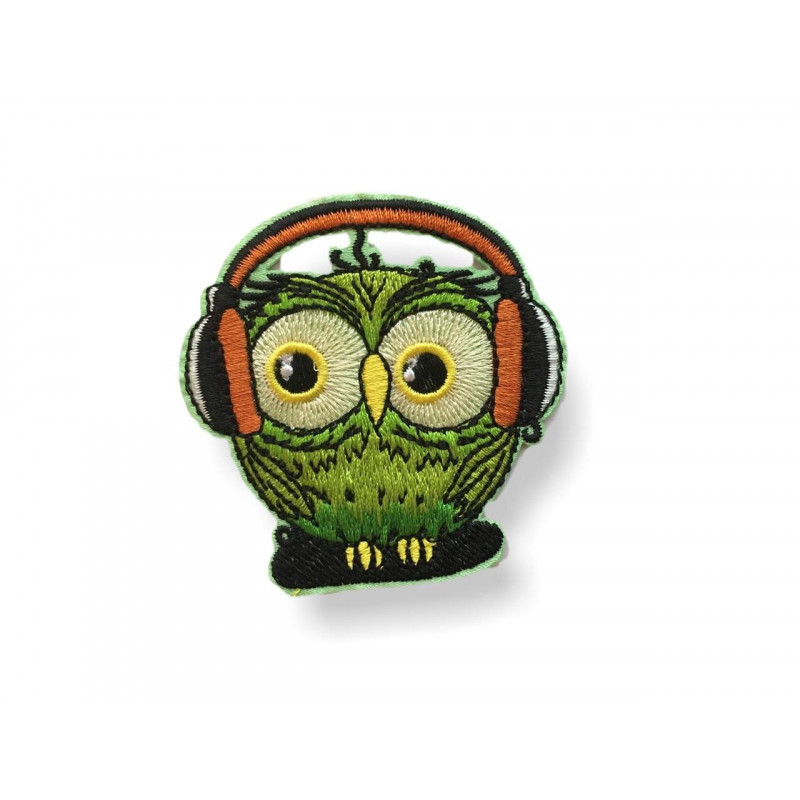 Komischer Hipster Vogel grün, Bügebild Aufnäher ca.60mmKomischer Vogel Hipster grün, Bügebild Aufnäher ca.60mm