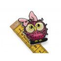 Komischer Hipster Vogel Rose Girl, Bügebild Aufnäher ca.60mm