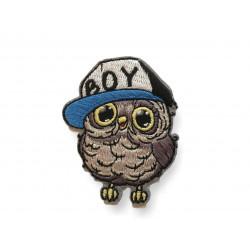 Komischer Hipster Vogel Blue Boy, Bügebild Aufnäher ca.60mm