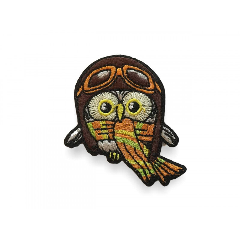 Komischer Hipster Vogel Racer, Bügebild Aufnäher ca.60mm