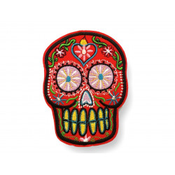 RED CANDY SKULL patch, approx.100mm