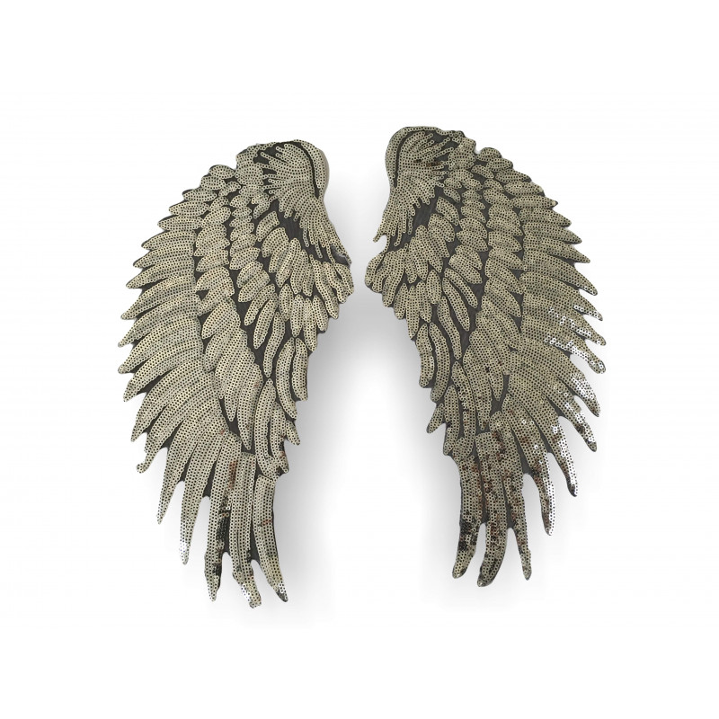 XXL Pailletten Patch ANGEL WINGS, 34x16cm, 2st. Aufnäher Bügelbild