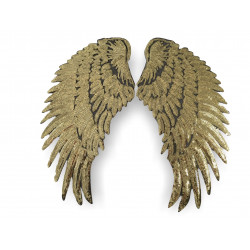2 big golden ANGEL WINGS, XL sequin patches