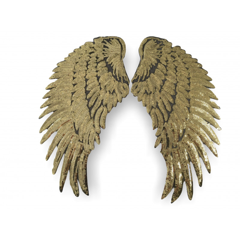 2 ANGEL WINGS, golden, große Pailletten Applikationen