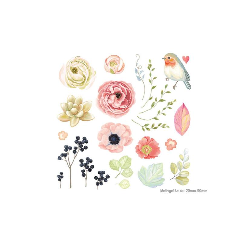 24 romantische Poesie-Style Bügelbilder, Transfer Bügelprints