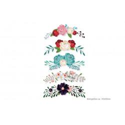 5x romantic blossom adornments, heat transfer applique