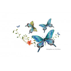 Blue butterfly transfer patch, iron on print applique