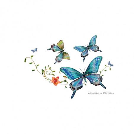 Blaue Schmetterlinge, Print Transfer Applikation, Bügelprints