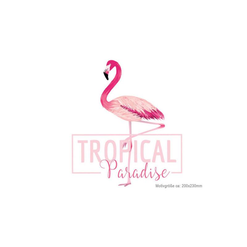 Flamingo Bügelbild TROPICAL PARADISE, Transfer Bügelprint