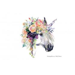 Flower unicorn print patch, Xl iron on transfer applique
