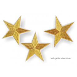 3 star patches, golden, ca.40mm iron on /sew on patch