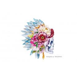 FESTIVAL PATCH FLOWER SKULL, Großer Print Bügelaufkleber