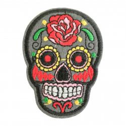 Skull Patch grey, de los muertos style, ca. 70mm iron on sew on