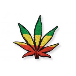Gras Bügelbild Rastafari, ca.90mm, Hanfblatt Cannabis Aufbügler