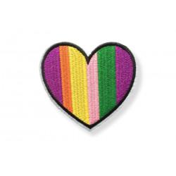 Bügel Patch LGBT RAINBOW HERZ Aufnäher zum Aufbüglen ca.80mm