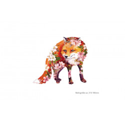 FLOWER FOX, großer Print Patch zum aufbügeln