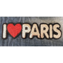 Large sequin patch I LOVE PARIS, big XL design ca.25cm sew on/iron on appliqué