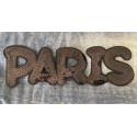 XL Pailletten PARIS, schwarz, Aufnäher, 23cm
