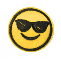 Emoji patch cool, smiley iron on sew on, ca. 60mm
