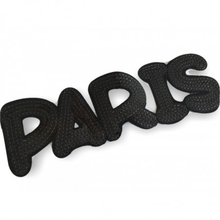 XL Pailletten PARIS, schwarz, 23cm, Aufbügler, Aufnäher