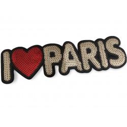 XL Pailletten I Love Patch PARIS, Aufnäher, 25cm