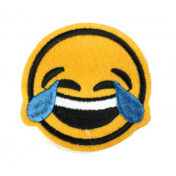 Emoji Patch Tränen, Laugh Aufbügler, ca. 60mm