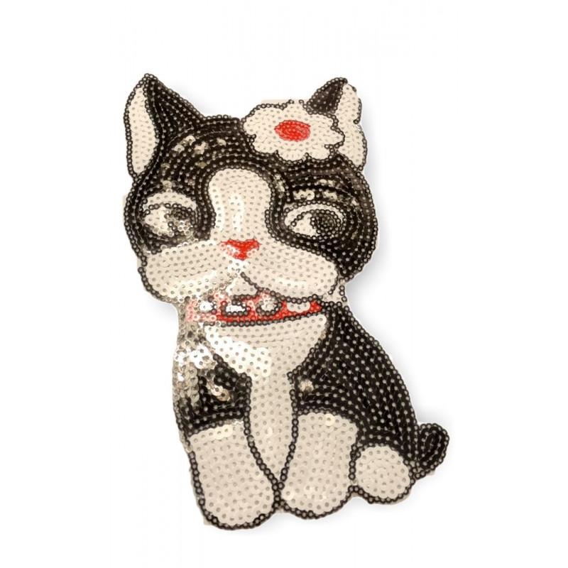 XL Pailletten Patch CUTIE CAT, Aufnäher, 21cm