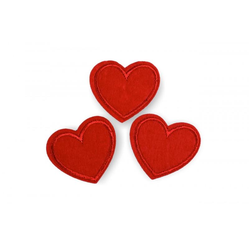 Aufbügler Herzen, 3st.❣️, rot, ca.35mm