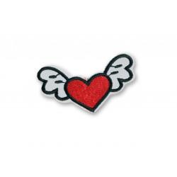 Aufbügler Herz mit süssen Flügeln, ca.70mm ❤️