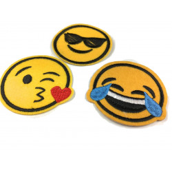 3 iron on emoji patches (cry + cool + kiss)