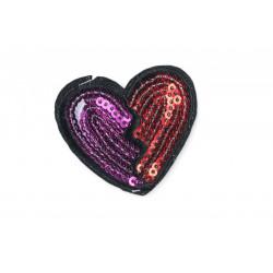 Aufbügler mit Pailletten, Herz rot/violett, ca. 45mm ❤️