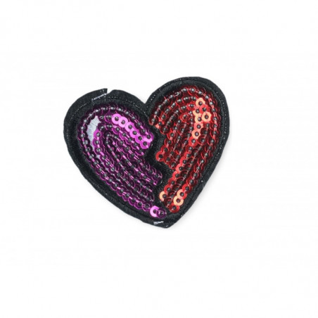Lovely heart shaped sequin patch, ca. 45mm, sew on/iron on