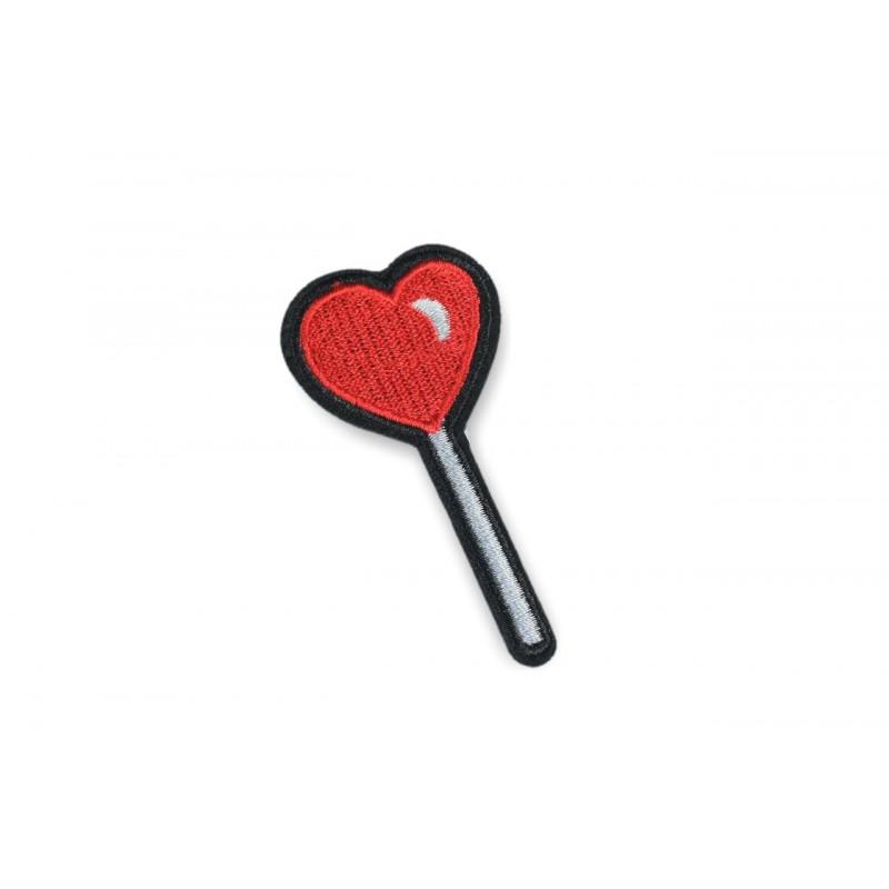 Herz am Stiel Patch, Aufbügler ca. 70mm, Bügelbild