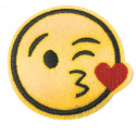 3 Emoji patches, kiss/cool/cry, iron on or sew on