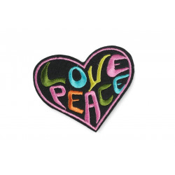 LOVE & PEACE Patch, Bügelbild Herz ca. 90mm, Aufbügler