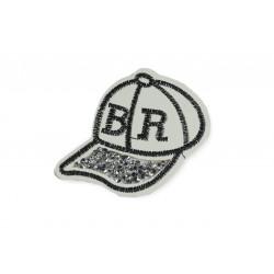 CAP-Patch mit Strassbesatz, Aufbügler, ca. 80mm, Bügelbild
