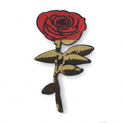 Large ROSE sequin patch, big XL design ca.17x34cm sew on/iron on appliqué