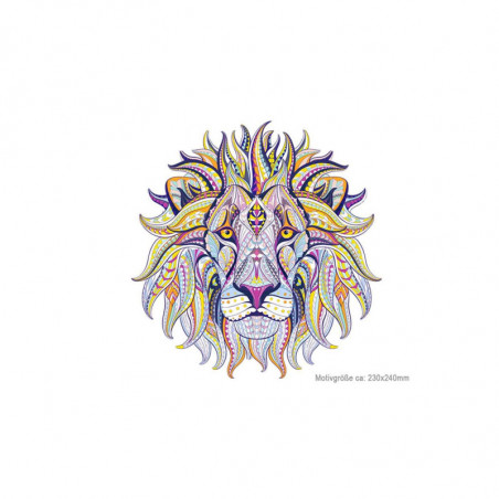 Großes Mandala Bügelbild LÖWE, violett, Patch zum aufbügeln ~230x240mm