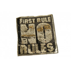 Large FIRST RULE NO RULES sequin patch, big XL design ca.20x23cm sew on appliqué