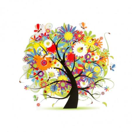 Bügelbild BLUMENBAUM, floraler Print Patch zum aufbügeln