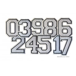 Weisse Zahlen-Aufbügler, Nummern Ziffern ca.100mm