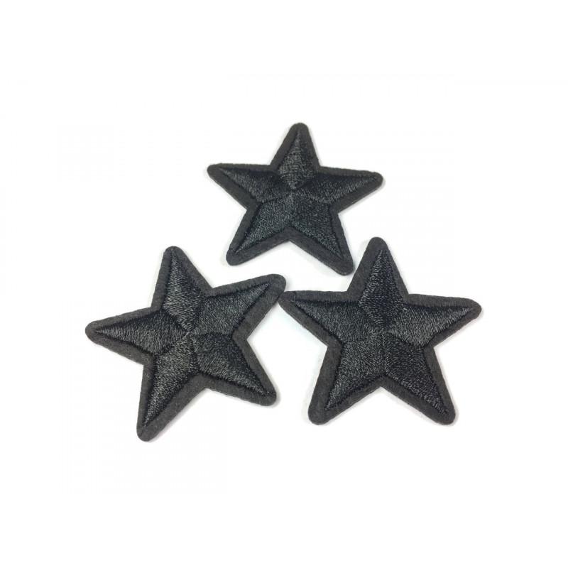 3st. Stern Patches, schwarz, ca. 40mm, Bügelbild