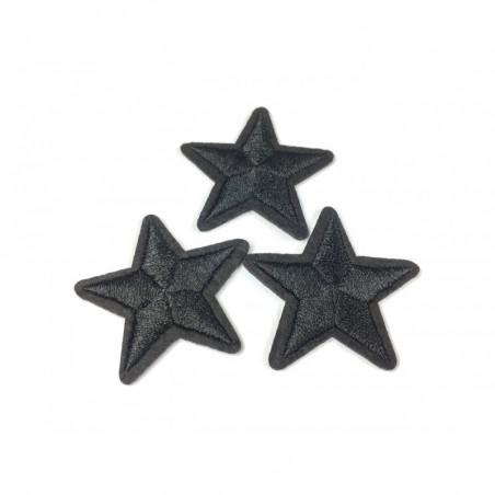 3 Stern Bügelbilder, schwarze Patches, ca. 40mm Sternchen