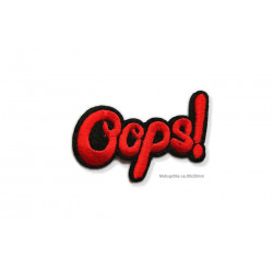 OOPS! Stick-Patch, Aufbügler Bügelbild, rot ca. 80x50mm