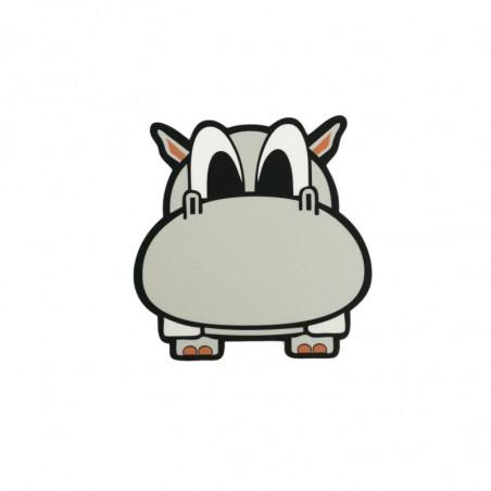 Bügelbild FUN HIPPO, grauer Print Patch zum aufbügeln, ca. 8.5x9cm