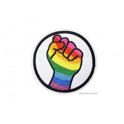 LGBT IRON HAND, Regenbogen-Aufnäher zum Aufbüglen ca.75mm