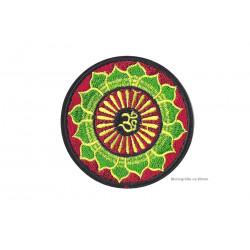 Om Bügel Aufnäher, grün/gelb/rot, Yoga Aufbügler ~80mm
