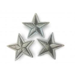 3 Stern Bügelbilder, silber Patches, ca. 40mm Sterne